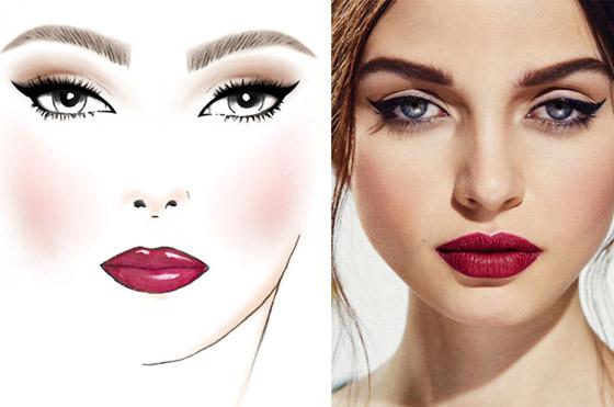 Пример макияжа с бордовой помадой
