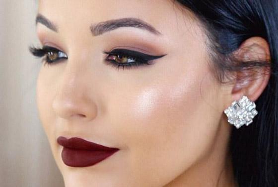 макияж с бордовыми губами