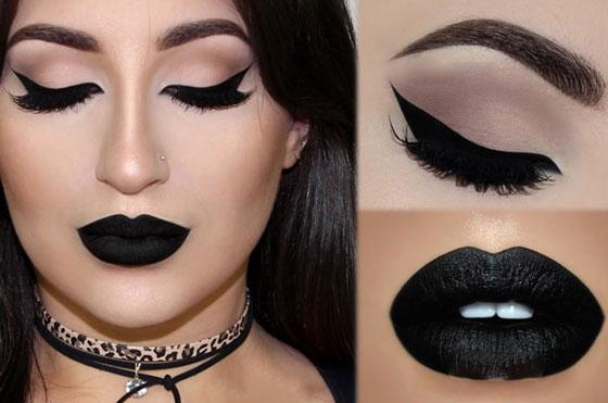 макияж с черными губами