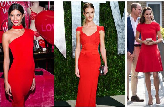 Девушки в красном платье